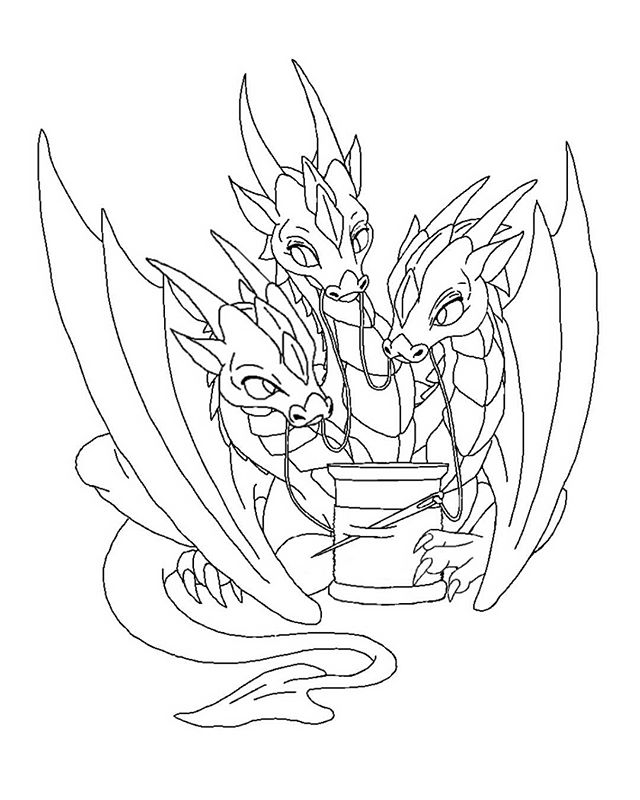 640x800 Line Art Cleaned Up On Little Three Headed Dragon.