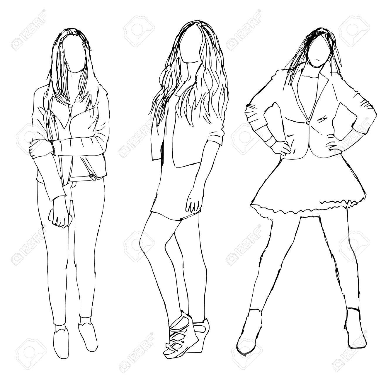 1300x1300 Sketch Of People. Three Girls Royalty Free Cliparts, Vectors,
