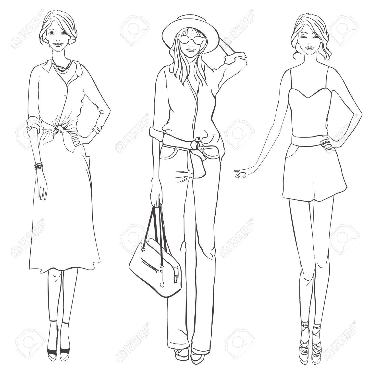 1300x1300 Three Girls With Different Garment. Fashion Designer Sketch