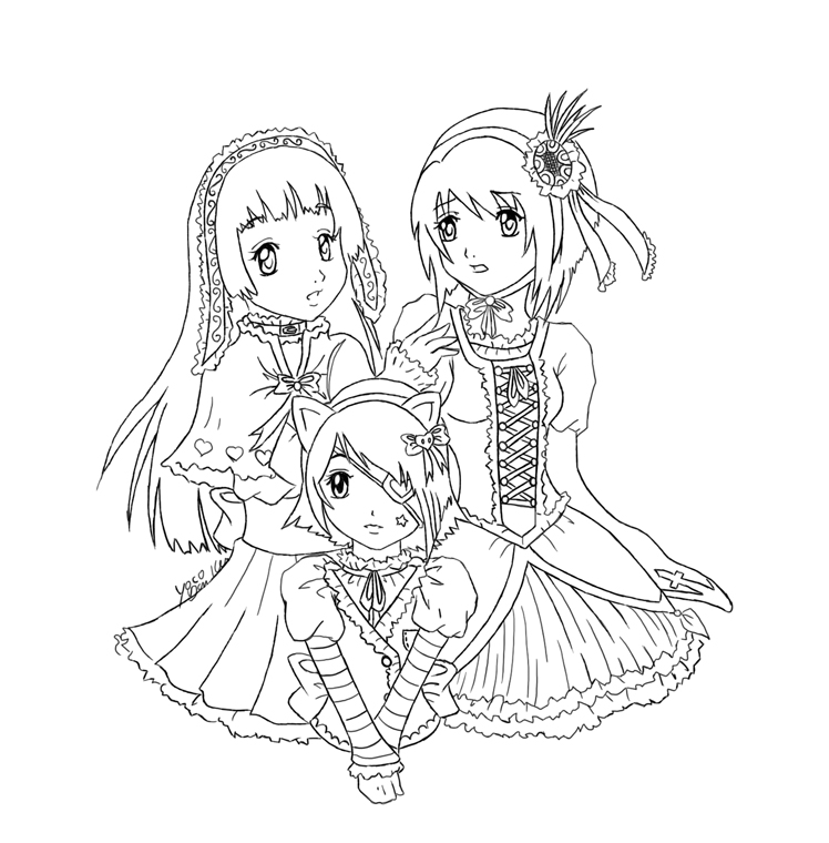 748x760 Three Girls Lineart By Yoco Chan Gals Color Pictures