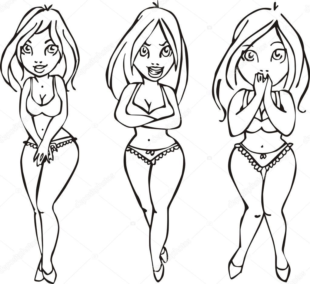 1023x936 Three Pretty Girls In Swimsuits Stock Vector Rorius