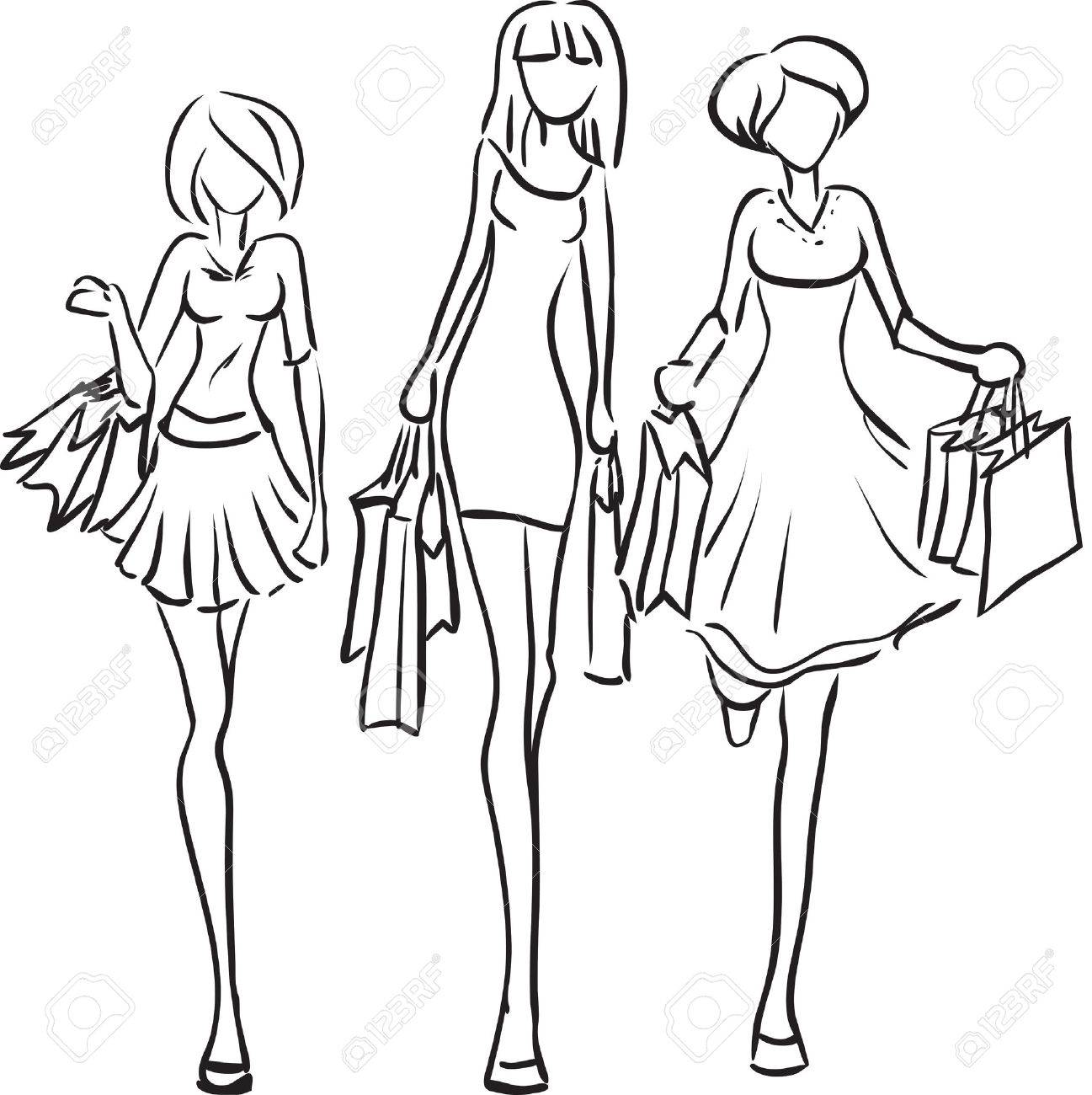 1297x1300 Vector Picture With Three Girls Going Shopping Royalty Free