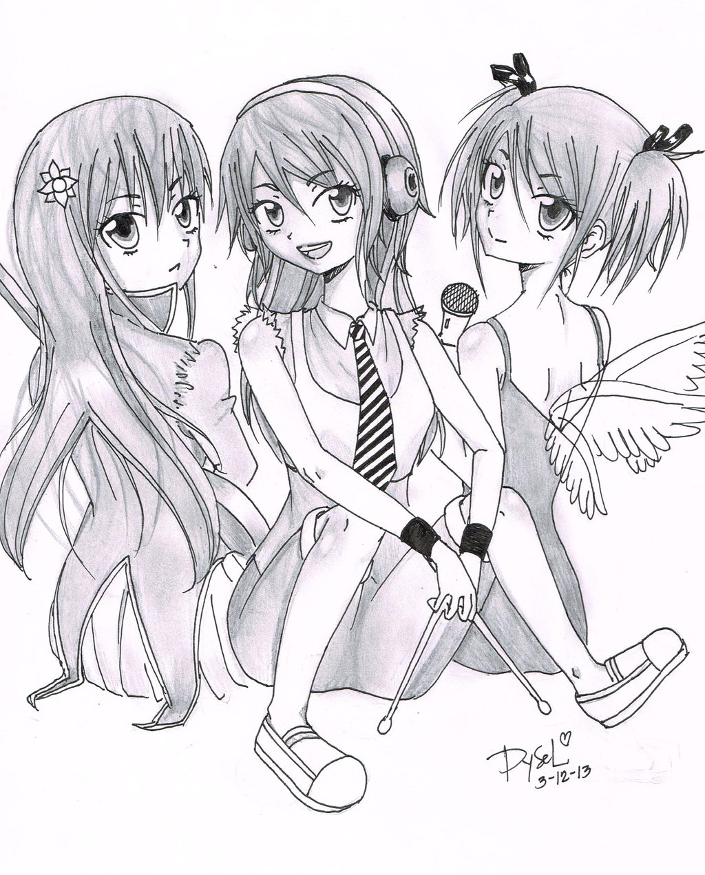 1024x1271 Anime Girls Band Members By Leseyd
