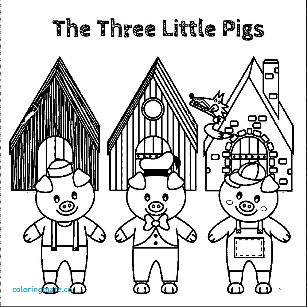 Three Little Pigs Stick House Coloring Pages