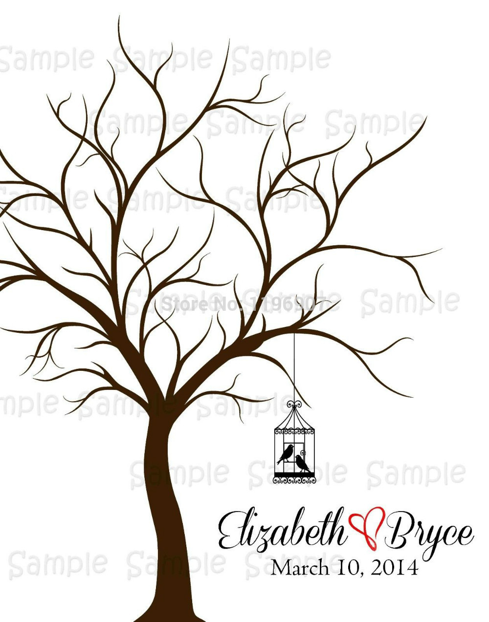 1000x1273 Canvas Print Personalised Wedding Fingerprint Thumbprint Tree