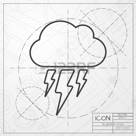 450x450 Cloud Thunderstorm Lightning Rain. Flat Icon. Imitation Draw