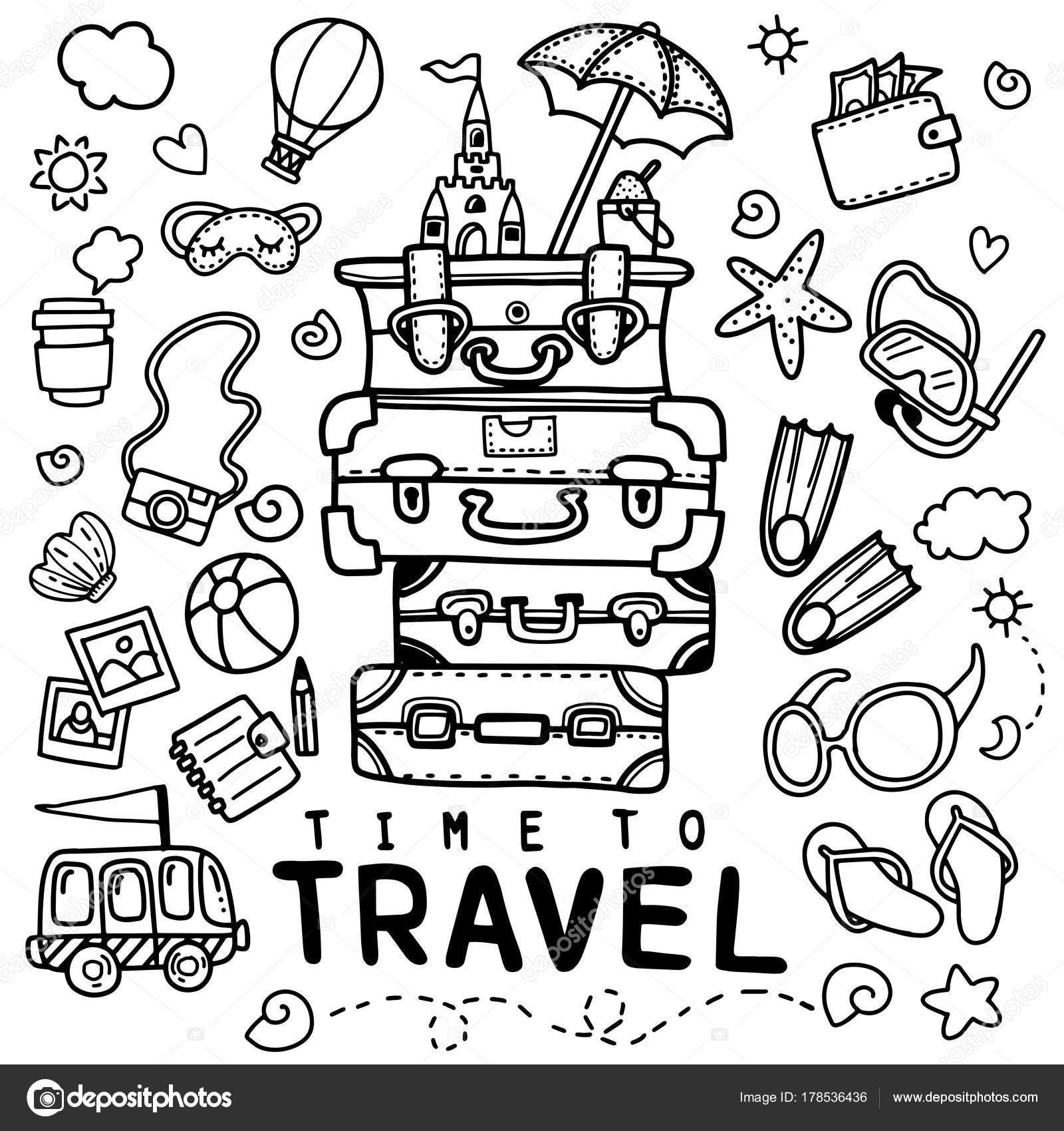 1600x1700 Set Hand Drawn Travel Doodle Vector Illustration Tourism Summer