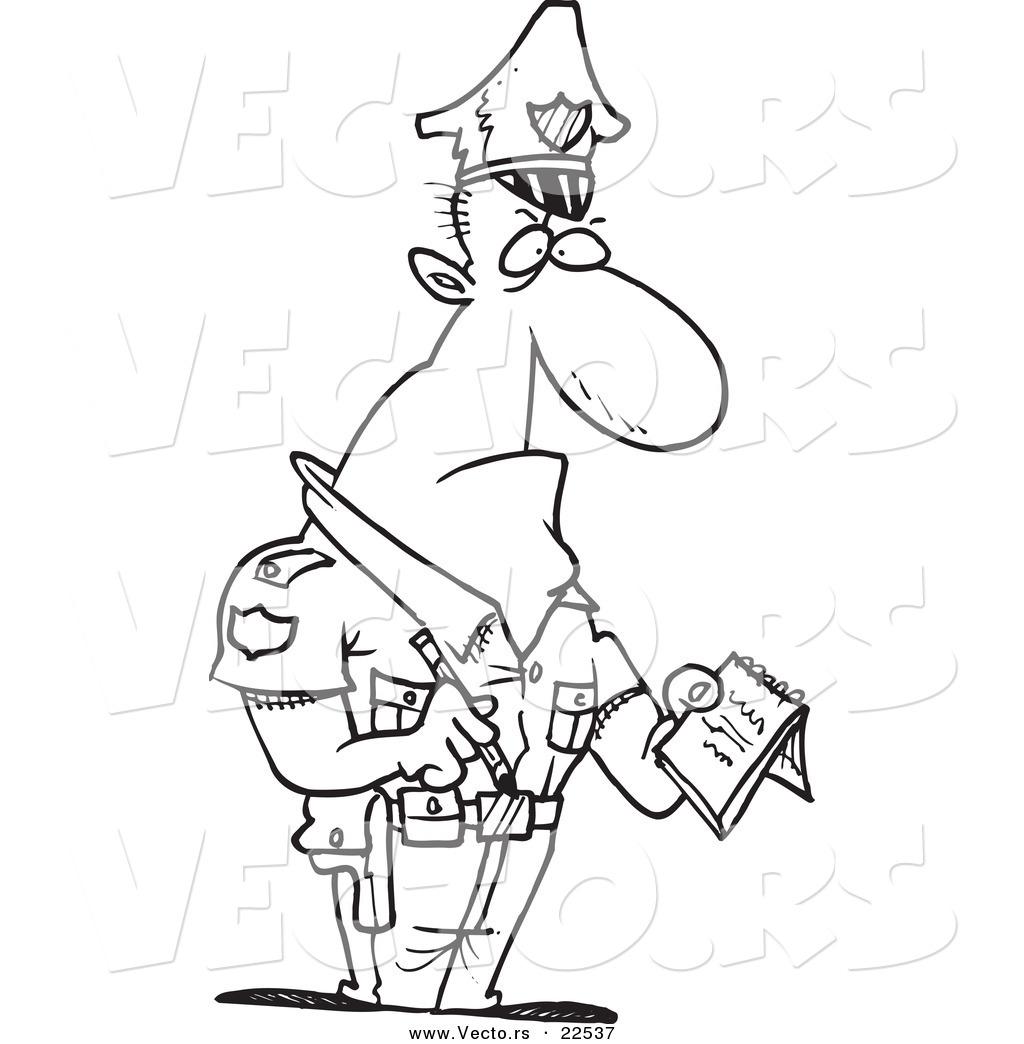 1024x1044 Vector Of A Cartoon Tough Cop Writing Ticket