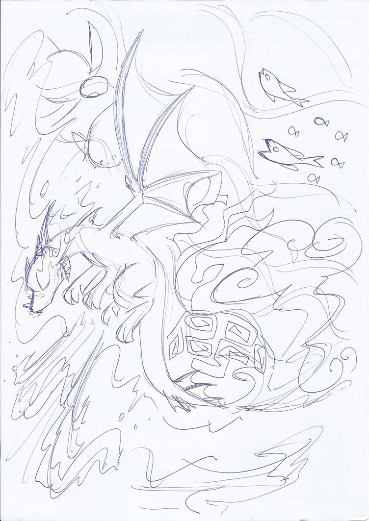 752x1063 Tidal Wave, Free Willed Sketch By Winged Dragoness
