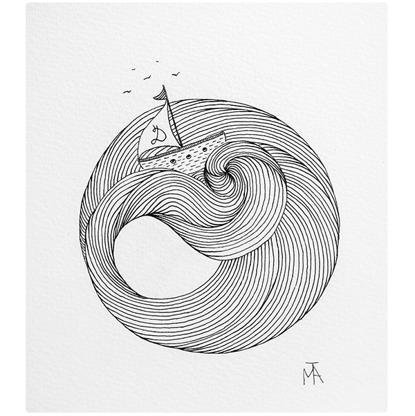 600x602 Boat, Waves, Lines, Tattoo, Idea, Minimal, Sketch, Drawing