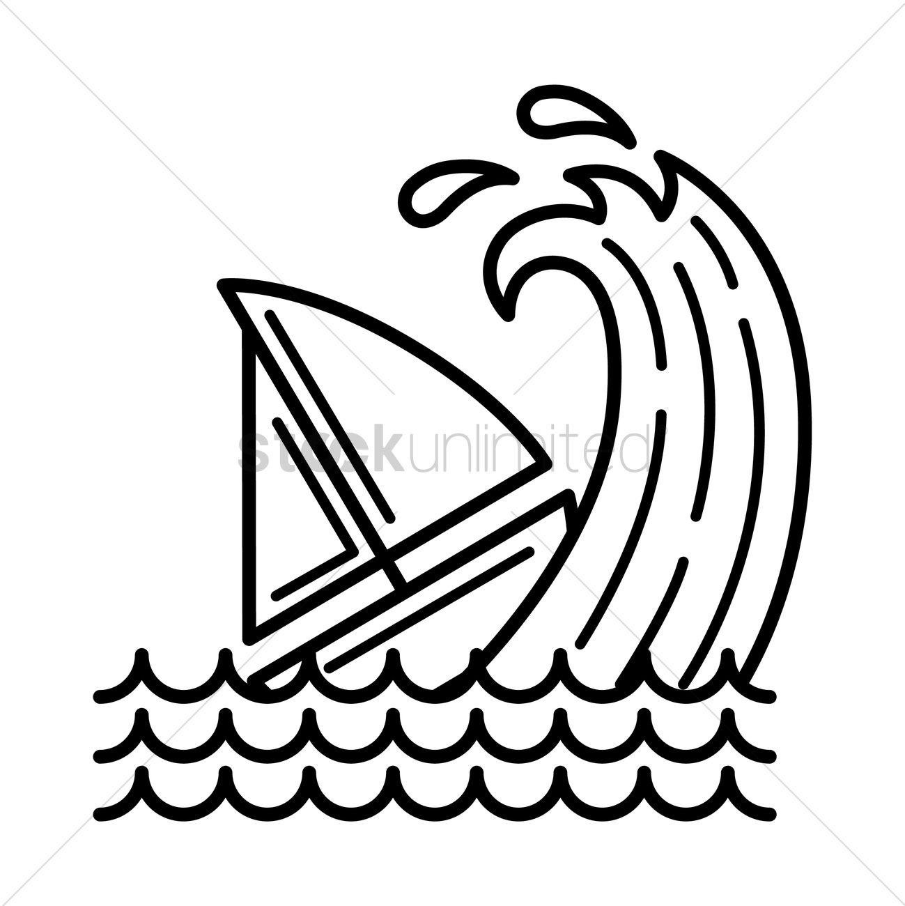 1299x1300 Boat Caught In Tsunami Vector Image