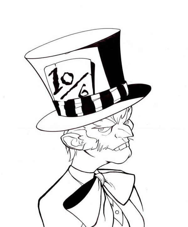 600x726 Mad Hatter With Bow Tie Coloring Page Color Luna