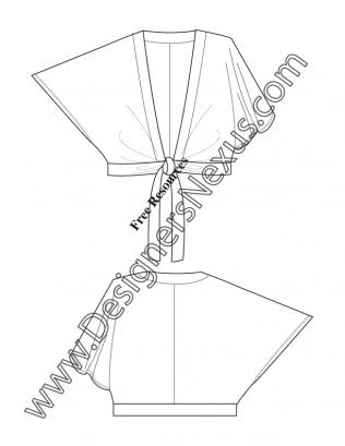316x409 Adobe Illustrator Flat Sketch Downloads V10 Kimono Sleeve Tie