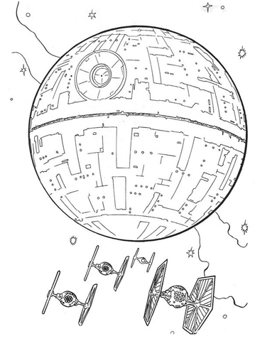 390x480 Death Star And Tie Fighters Coloring Page Free Printable