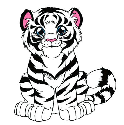 396x400 Cute Tiger Coloring Pages Tiger Cub By On Cartoon Tiger Coloring