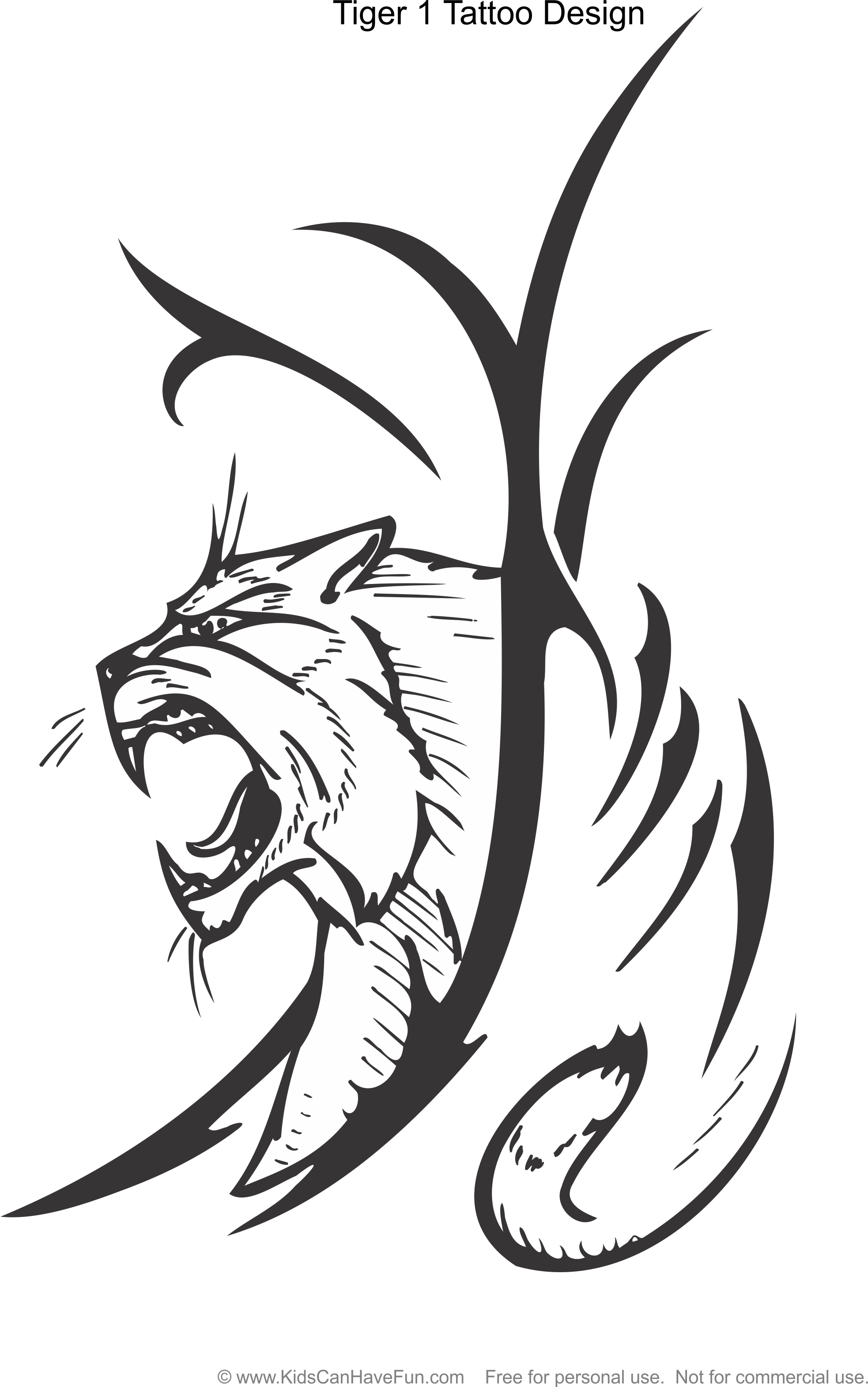 1966x3140 Tiger 1 Tattoo Design Coloring Page