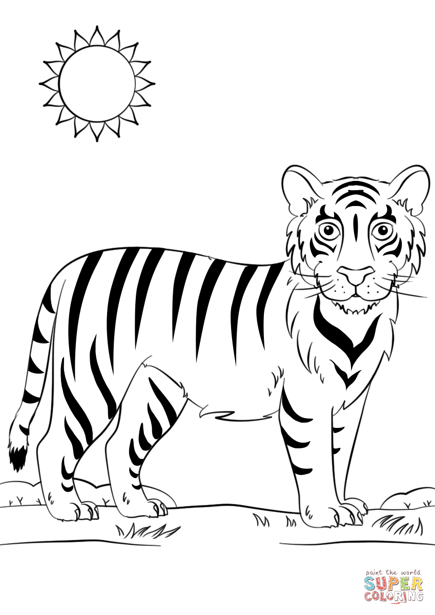 849x1200 Cartoon Tiger Drawing