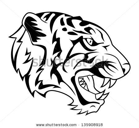 Tiger Face Outline Drawing