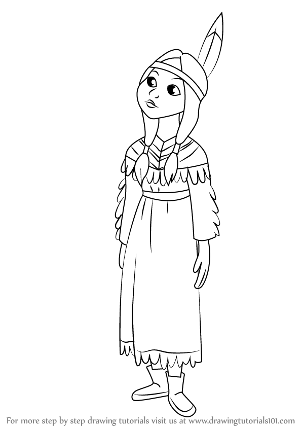598x844 Learn How To Draw Tiger Lily From Peter Pan (Peter Pan) Step By