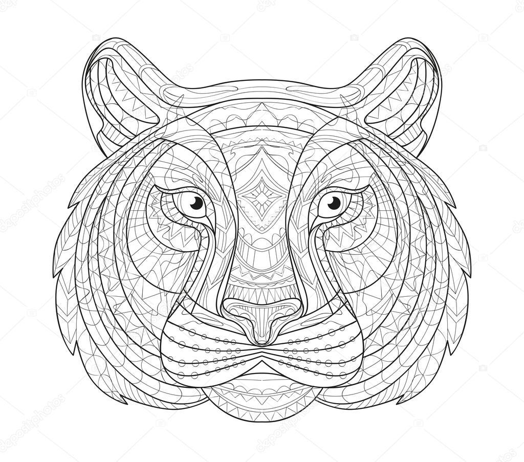 1024x903 Hand Drawn Doodle Outline Tiger Illustration. Decorative