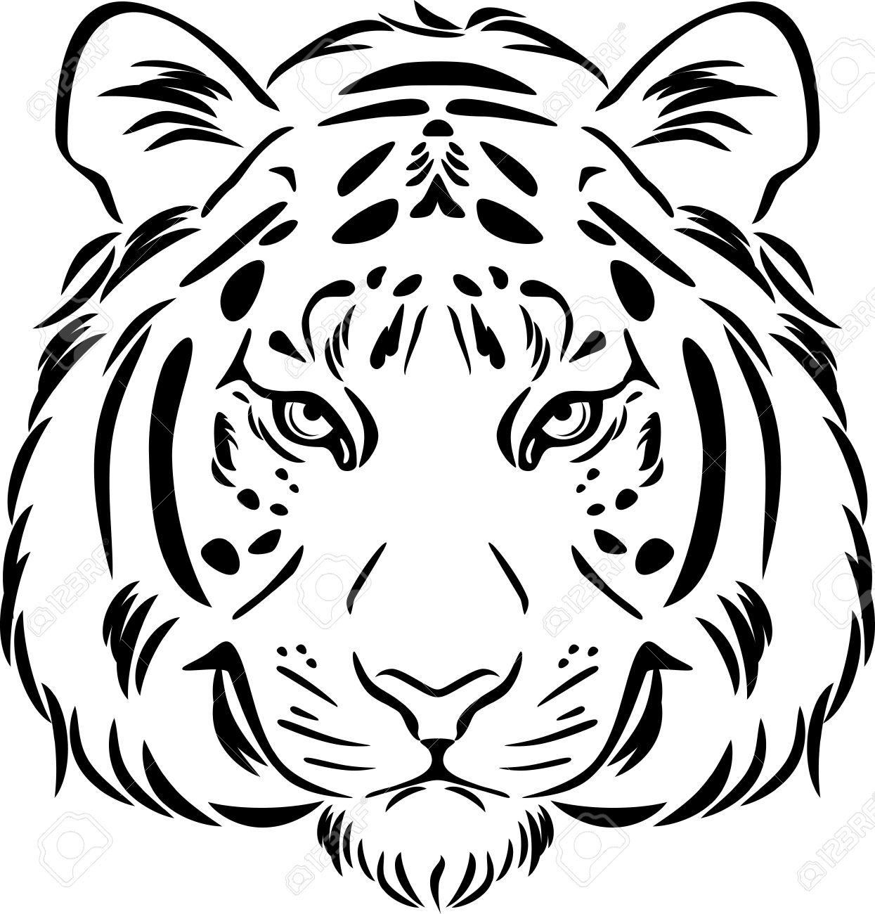 1245x1300 Tiger Head. Black And White Outline Royalty Free Cliparts, Vectors