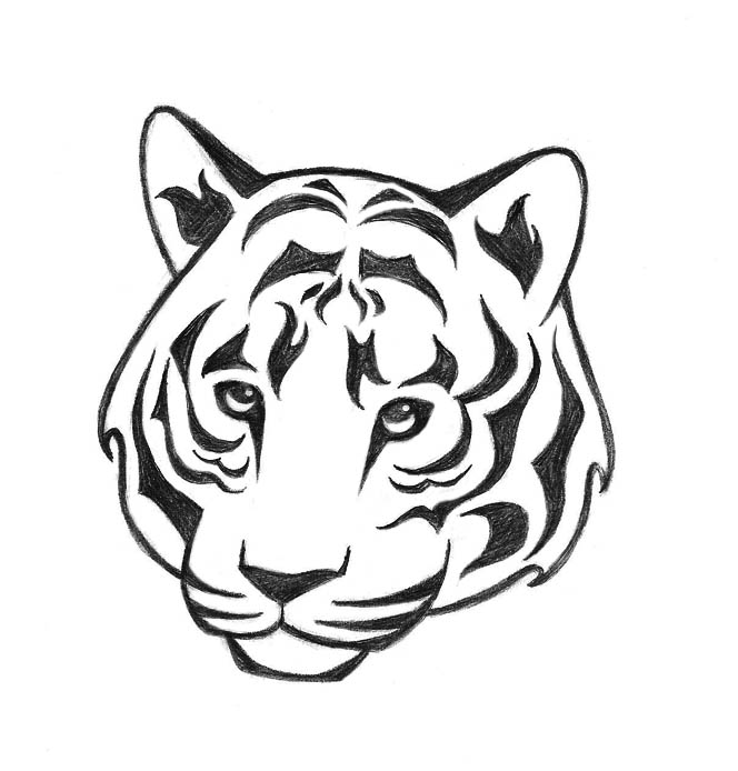 664x694 Tiger Outline Drawing Tattoo