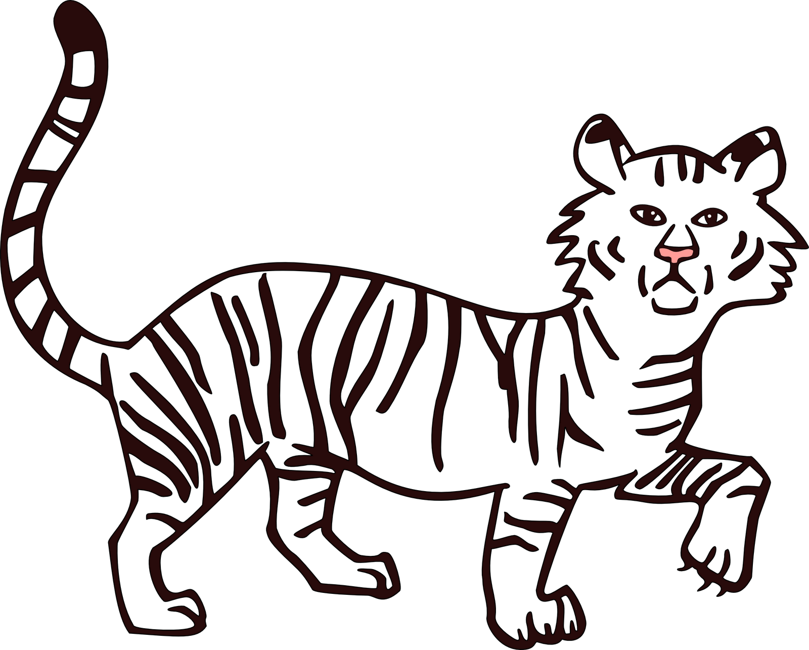 1600x1285 Tiger Outline Free