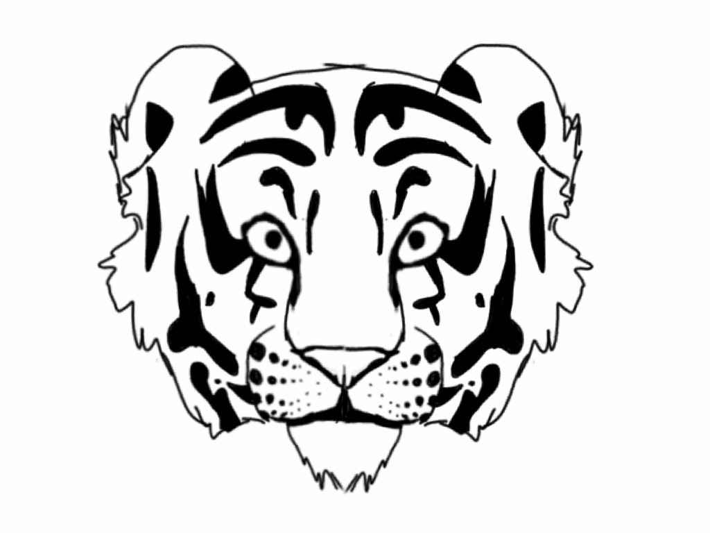 1024x768 Tiger Outline By Raynefeather25