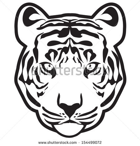 450x470 Drawn White Tiger Face Outline