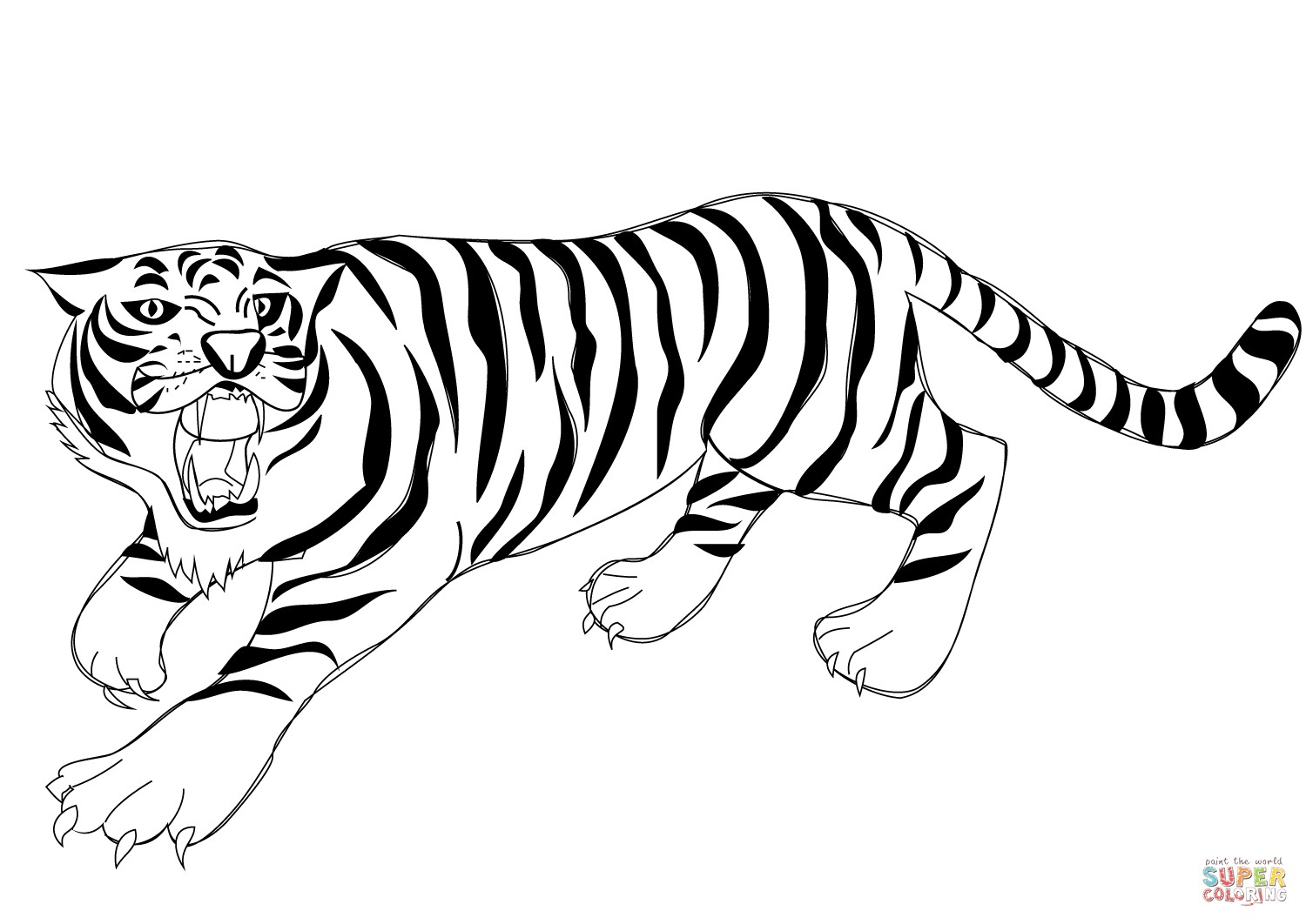 1500x1062 coloring pages printable tiger best of roaring tiger coloring page - Tiger Coloring