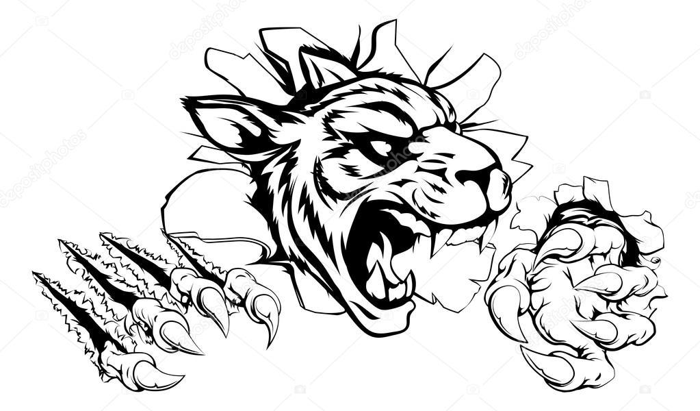 1023x600 Tiger Ripping Through Wall Stock Vector Krisdog
