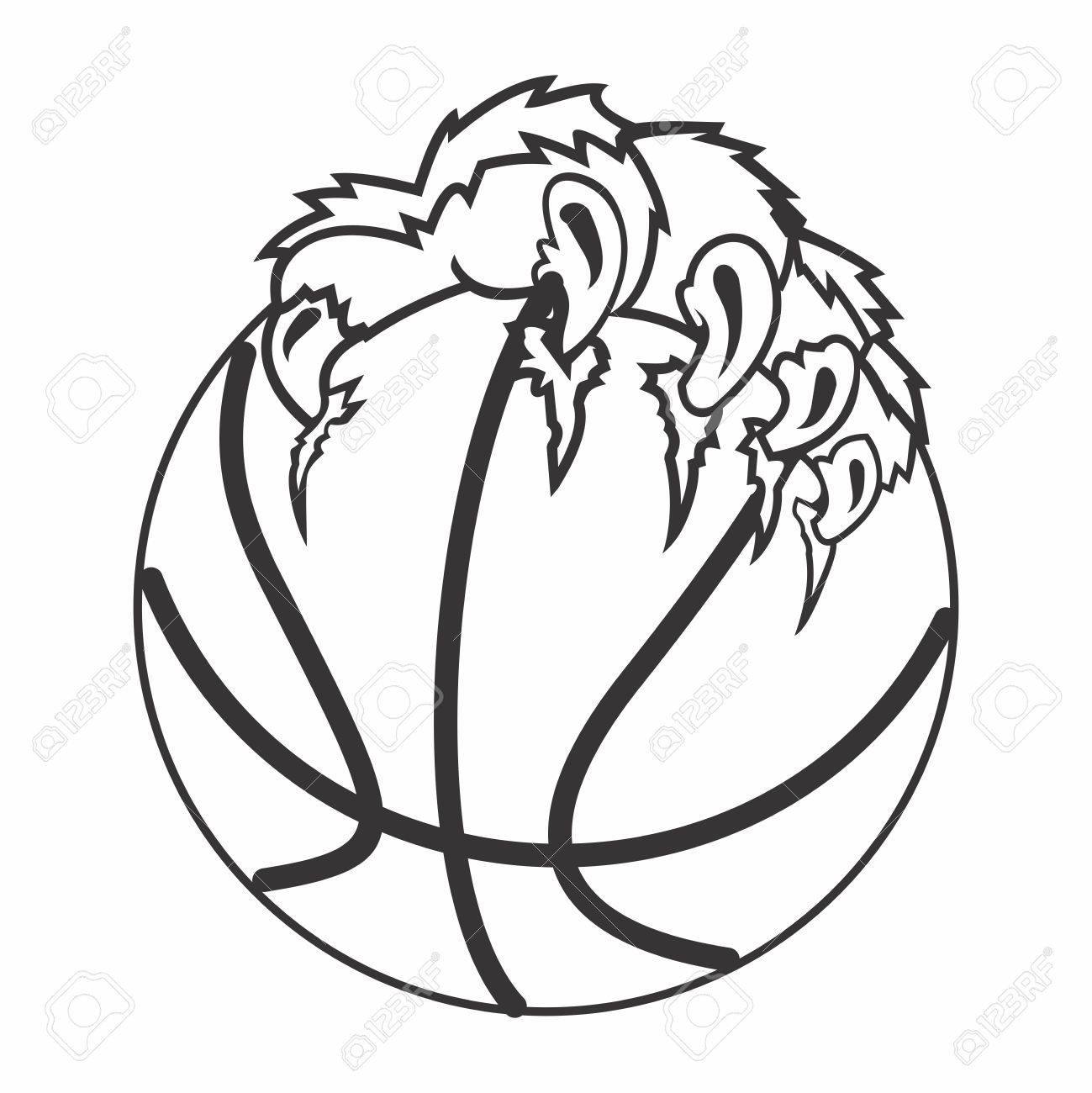 1299x1300 Vector Basketball And Claw Illustration, Isolated On White