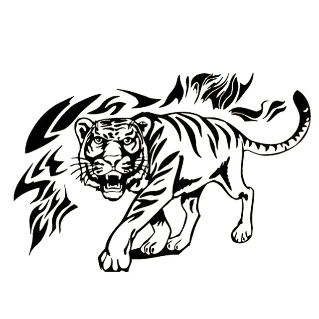 640x640 28x19cm Tiger Paper Tiger Pattern Car Stickers Body Stickers Cover