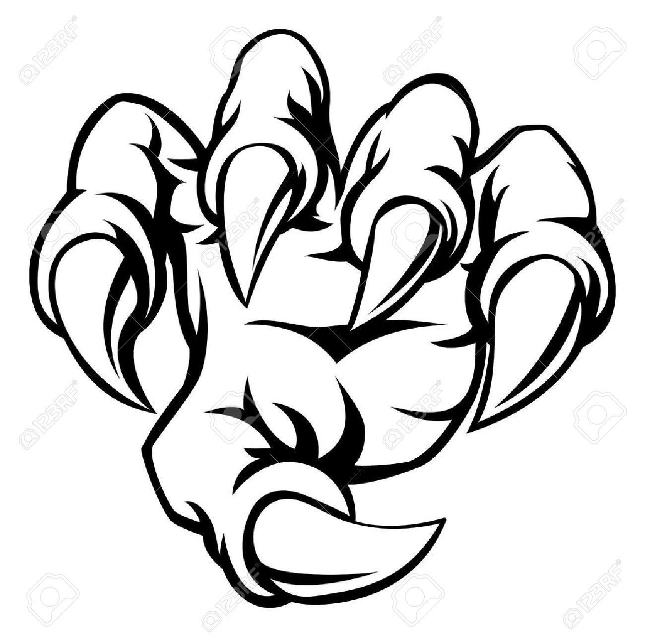 1300x1283 A Cartoon Hand Monster Claw Illustration Royalty Free Cliparts