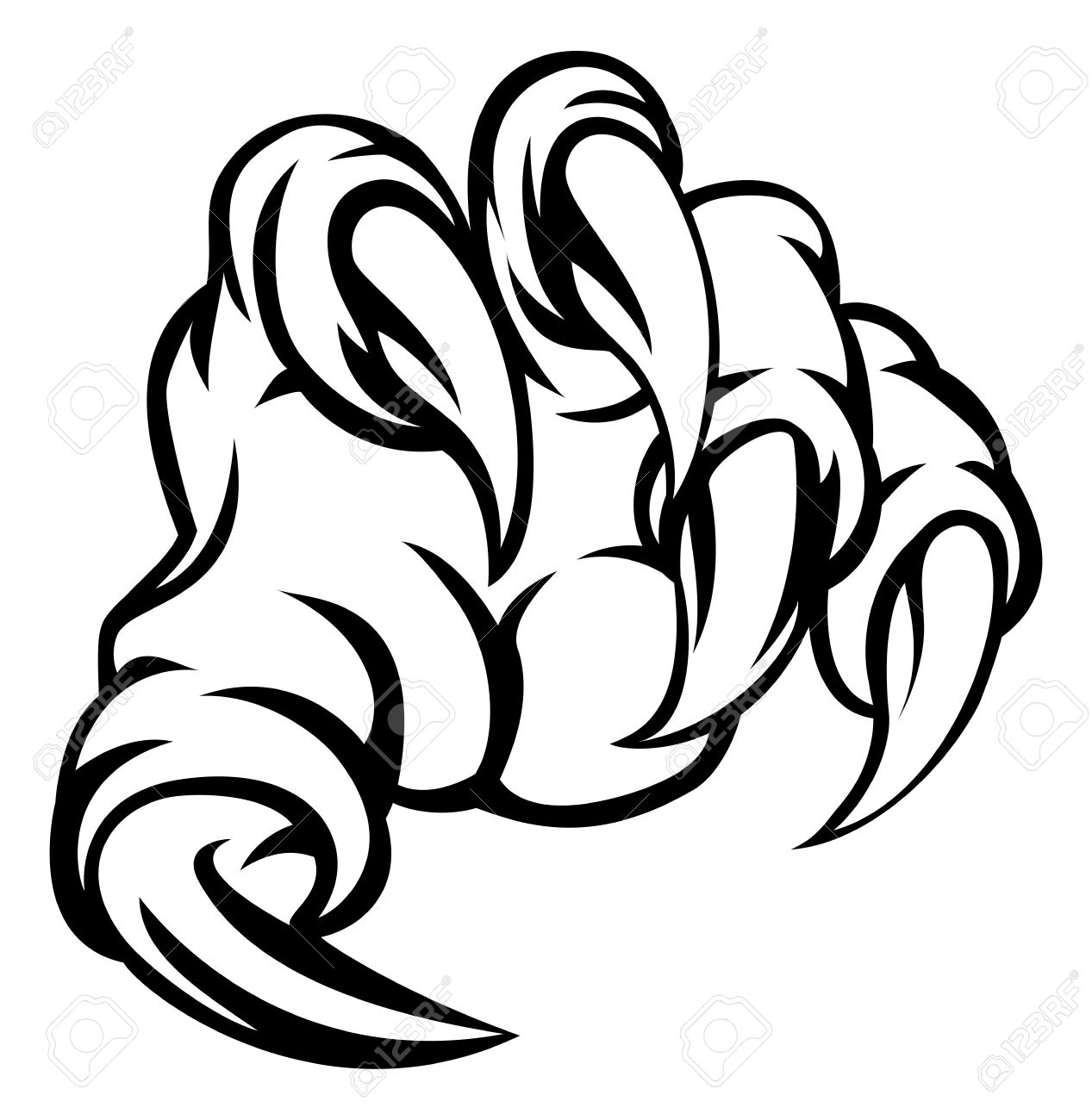 1267x1300 A Monster Claw Hand Illustration Royalty Free Cliparts, Vectors