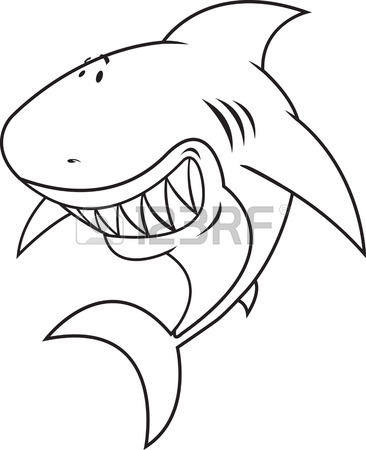 366x450 Funny Tiger Shark With Surfboard Isolated On White Royalty Free