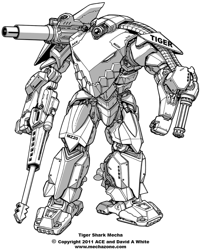 652x816 Tiger Shark Mecha By Mecha Zone