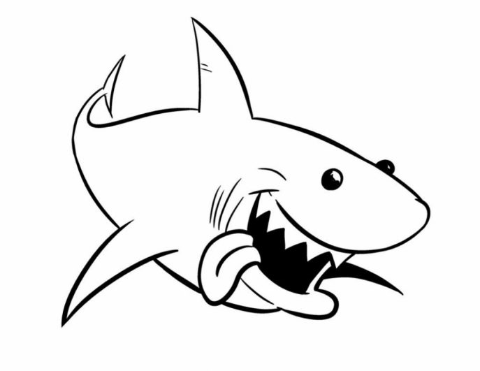 687x531 Coloring Pages Breathtaking Shark Coloring Pages Three Tiger