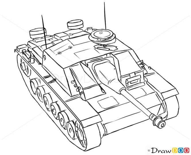 665x541 How To Draw Assault Gun, Stug Iii, Tanks Tanks Art