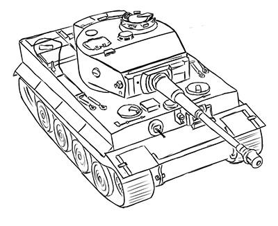 400x326 How To Draw The German Average Tank The Panther With A Pencil