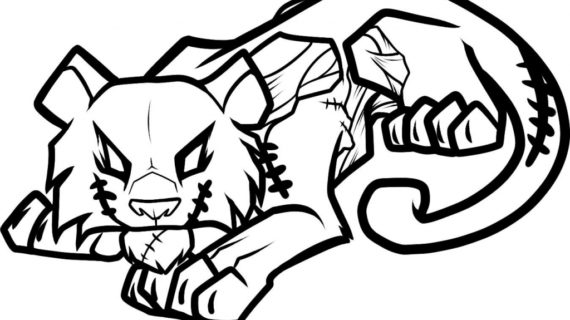 570x320 Easy To Draw Tiger How To Draw A Zombie Tiger Zombie Tiger Step