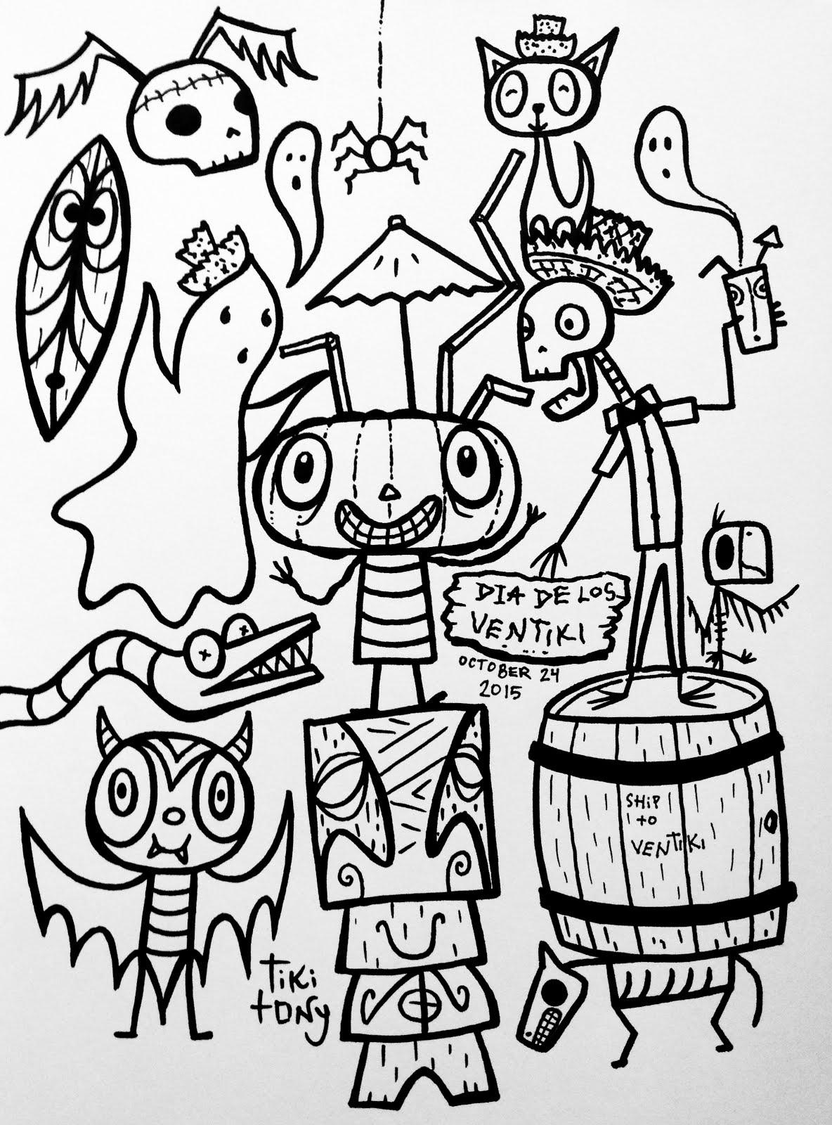 1184x1600 Dia De Los Ventiki Coloring Page Tiki Tony Tiki Tony