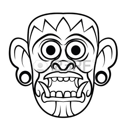 Tiki Head Drawing