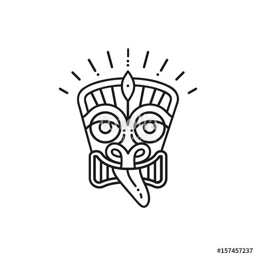 500x500 Tiki Icon Tiki Mask Head. Thin Line Art Polynesian Symbol Stock