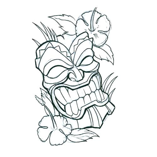 500x500 Tiki Coloring Pages Mask With Flower Tattoo Design Tiki Mask