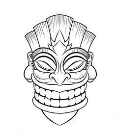 236x277 Tiki Drawings Illustration This Tiki Mask Is For A Longboard