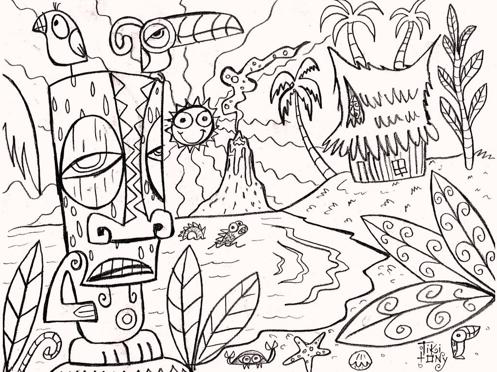 1024x767 Tiki Mask Adult Coloring Pages Tiki Man Coloring Page