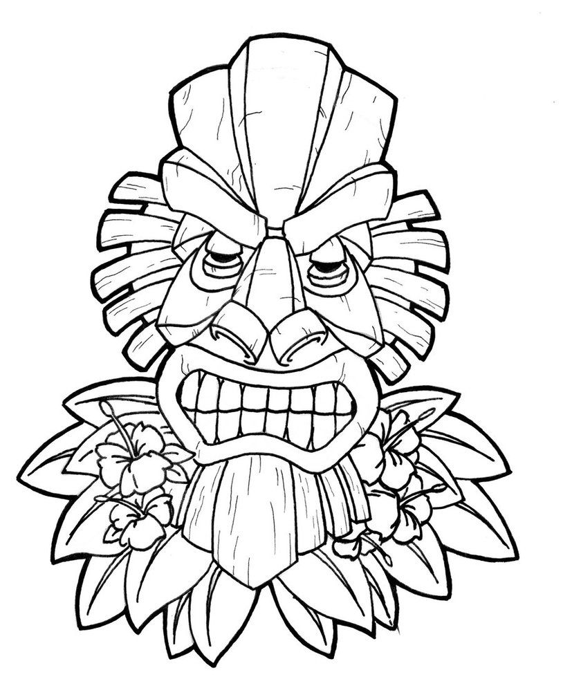 814x982 Images For Gt Tiki Face Coloring Page Tiki Party