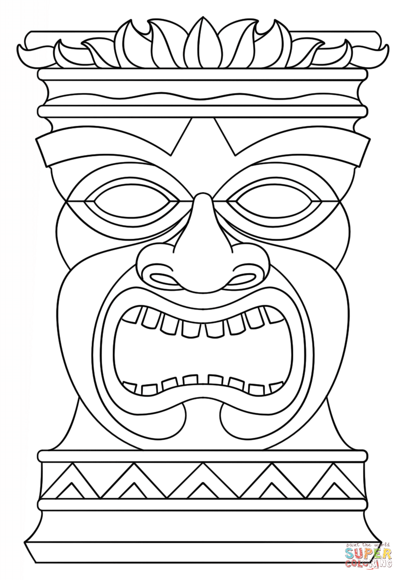 824x1186 Tiki Mask Coloring Page