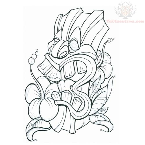 500x500 Tiki Mask Tattoo Design